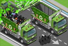Isometrisk avskrädelastbil med behållaren i Front Vi Royaltyfria Foton