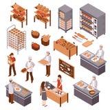Isometrisk bageriuppsättning royaltyfri illustrationer