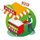Isometrisk bakgrund för gatamatpizza royaltyfri illustrationer