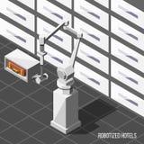Isometrisk bakgrund för Robotized hotell stock illustrationer