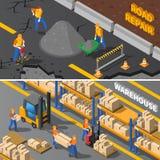 Isometrisk baneruppsättning för arbetare vektor illustrationer
