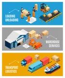 Isometrisk baneruppsättning för logistik royaltyfri illustrationer