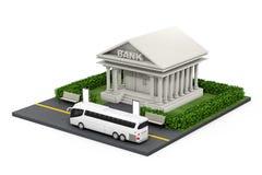 Isometrisk bankfinansbyggnad i stad framförande 3d Royaltyfri Fotografi