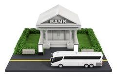 Isometrisk bankfinansbyggnad i stad framförande 3d Royaltyfria Foton