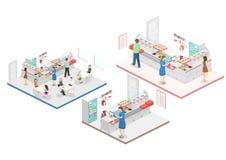 Isometrisk begreppsinre för lägenhet 3D av en coffee shop Arkivfoto