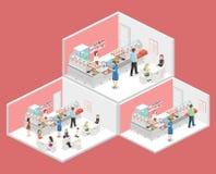 Isometrisk begreppsinre för lägenhet 3D av en coffee shop Royaltyfria Foton