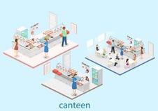 Isometrisk begreppsinre för lägenhet 3D av en coffee shop Royaltyfri Bild