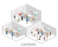 Isometrisk begreppsinre för lägenhet 3D av en coffee shop Arkivbild