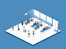 Isometrisk begreppsinre för lägenhet 3D av väntande rum i flygplats royaltyfri illustrationer