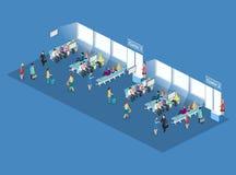 Isometrisk begreppsinre för lägenhet 3D av väntande rum i flygplats vektor illustrationer