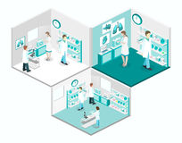 Isometrisk begreppsinre för lägenhet 3D av vetenskapslaboratoriumet Arkivfoton