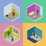 Isometrisk begreppsuppsättning för hem- reparation med arbetare, hjälpmedel, utrustning som isoleras på vit Byggnad, konstruktion vektor illustrationer