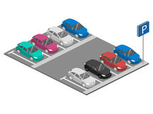 Isometrisk bil för lägenhet 3D mött stads- stationsdrevtransport Parkeringsplats Arkivbilder