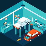 Isometrisk bilreparation för garage 3d Arkivbild