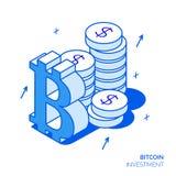Isometrisk bitcoininvestering- och tillväxtlinje stilbegrepp Royaltyfria Foton