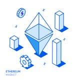 Isometrisk bitcoininvestering- och tillväxtlinje stildesignbegrepp Royaltyfri Fotografi