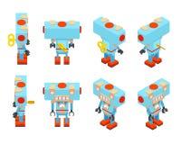 Isometrisk blå leksakrobot med tangenten i baksidan Royaltyfri Fotografi