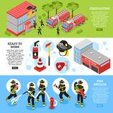 Isometrisk brandman Banners stock illustrationer