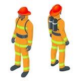 Isometrisk brandmanvektorillustration Under faraläge alla brandmän som bär brandmandräkten för säkerhet royaltyfri illustrationer