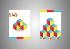 Isometrisk broschyr för kubvektoraffär, eBookräkningsmall Arkivbilder