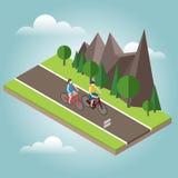 Isometrisk bygd Sommarväg Cykla för kvinna och för man Royaltyfri Fotografi