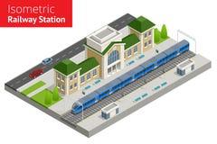 Isometrisk byggnad för drevstation med passageraredrev, plattform royaltyfri illustrationer