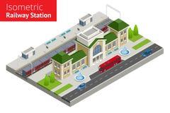 Isometrisk byggnad för drevstation med passageraredrev, plattform stock illustrationer