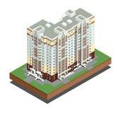 Isometrisk byggnadsfastighet - stadsbyggnader - bostads- hus - dekorativa symboler ställ in - vektor Royaltyfri Fotografi