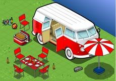 Isometrisk campa skåpbil i Front View Arkivbilder