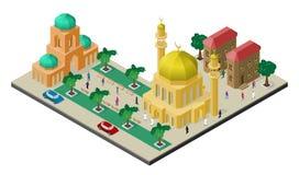 Isometrisk cityscape med mångkulturell citylife Moské med minaret, stads- byggnader, träd, bänkar, bilen och folk stock illustrationer