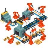 Isometrisk design av den automatiserade bearbetningsanläggningen royaltyfri illustrationer