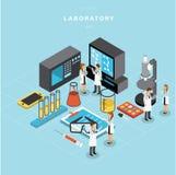 Isometrisk design för uppsättning A för laboratoriumvektordesign vektor illustrationer