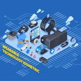 Isometrisk design för Wearable teknologi stock illustrationer