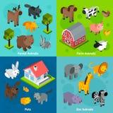 Isometrisk djuruppsättning Arkivbilder