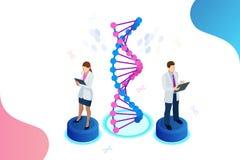 Isometrisk DNAspiral, DNA som analyserar begrepp blått digitalt för bakgrund Innovation, medicin och teknologi royaltyfri illustrationer