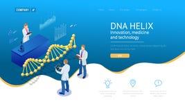 Isometrisk DNAspiral, DNA som analyserar begrepp blått digitalt för bakgrund Innovation, medicin och teknologi Webbsida eller royaltyfri illustrationer