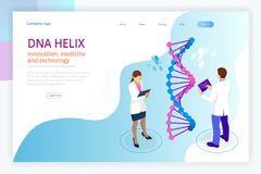 Isometrisk DNAspiral, DNA som analyserar begrepp blått digitalt för bakgrund Innovation, medicin och teknologi Webbsida eller stock illustrationer