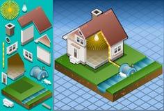 isometrisk driven watermill för hus stock illustrationer