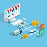 Isometrisk e-kommers för plan rengöringsduk 3d, elektronisk affär, online-sh Arkivfoton