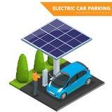 Isometrisk elbilparkering, elektronisk bil ekologiskt begrepp Värld för Eco vänskapsmatchgräsplan Isometrisk plan vektor 3d royaltyfri illustrationer