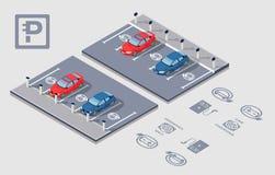 Isometrisk Electrocar parkering Arkivfoto