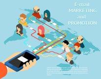 Isometrisk Emailmarknadsförings- och befordranmobil app stock illustrationer