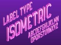 Isometrisk etikettvektortyp Den rosa lutningen märker stilsorten Isolerat engelskt alfabet 3d Royaltyfri Illustrationer