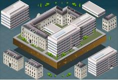 Isometrisk europeisk historisk byggnad Arkivbild