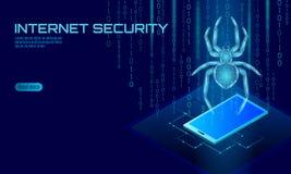Isometrisk för en hackerattack för spindel 3D fara Begrepp för antivirus för säkerhet för data för rengöringsduksäkerhetsvirus Sm stock illustrationer
