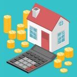 Isometrisk för hus- och fastighetpengar för lägenhet 3D investering Fotografering för Bildbyråer
