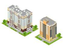 Isometrisk för stadbyggnader för lägenhet 3d illustration för vektor Royaltyfria Foton