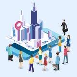 Isometrisk för utställningbefordran för lägenhet 3D ställning Bås för handelshow royaltyfri illustrationer