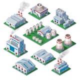 Isometrisk fabrik som 3d bygger den industriella illustrationen för vektor för hus för beståndsdellagerarkitektur vektor illustrationer