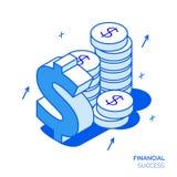 Isometrisk finansiell analys och tillväxtlinje stilbegrepp Royaltyfri Fotografi